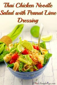 Easy Thai chicken noodle salad with peanut lime dressing
