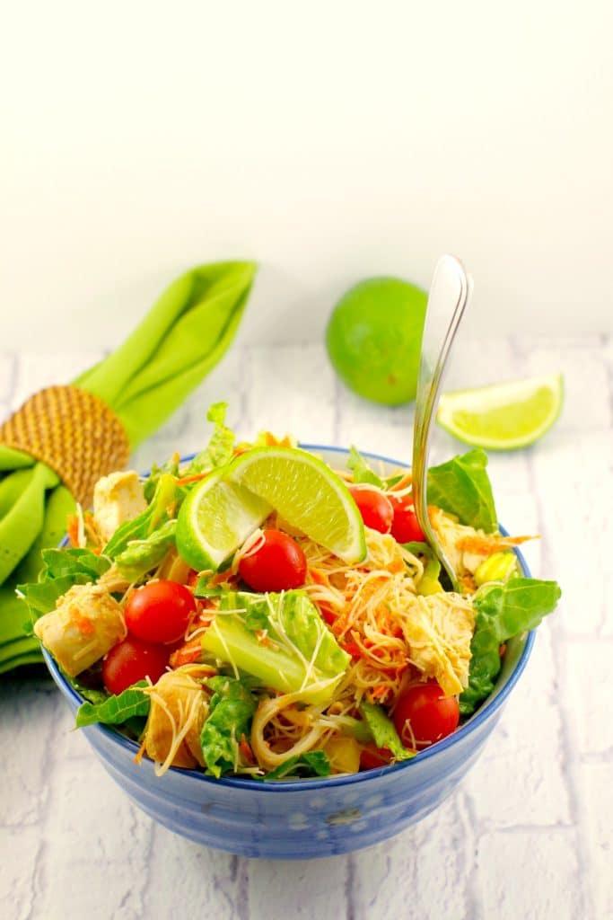 Thai Chicken Noodle Salad Peanut Lime Dressing Food
