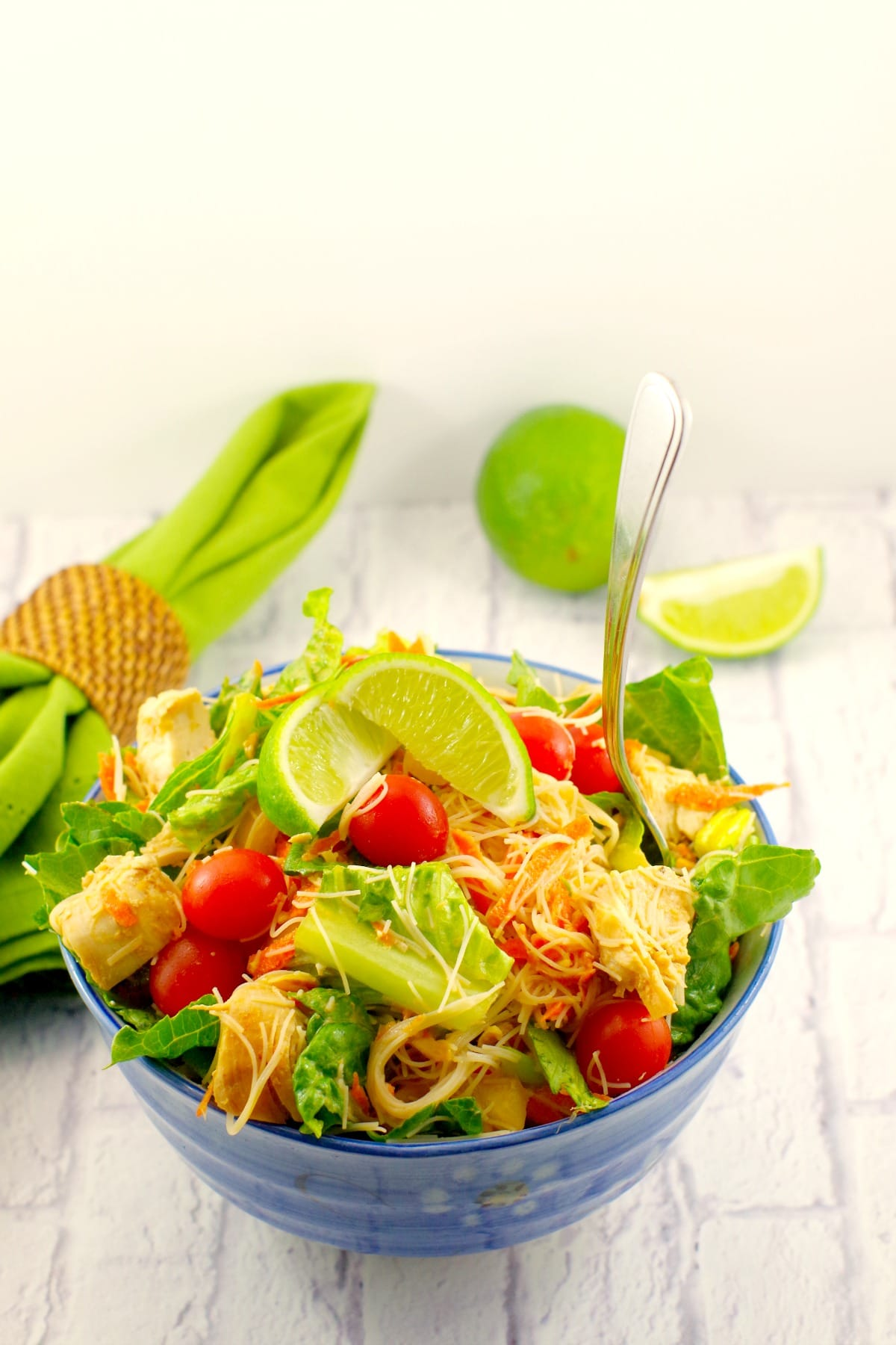 Thai chicken salad with peanut lime dressing   easy - foodmeanderings.com