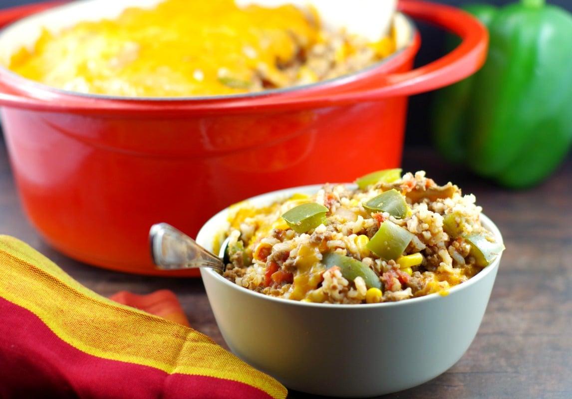 Healthy Stuffed Green Pepper Casserole - Foodmeanderings.com