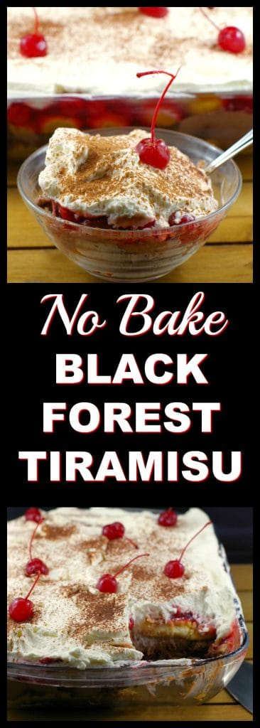 No Bake Black Forest Tiramisu | #easypotluckdessert #potluckdessertidea - Foodmeanderings.com