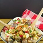 Perogy Potato Salad recipe- Foodmeanderings.com