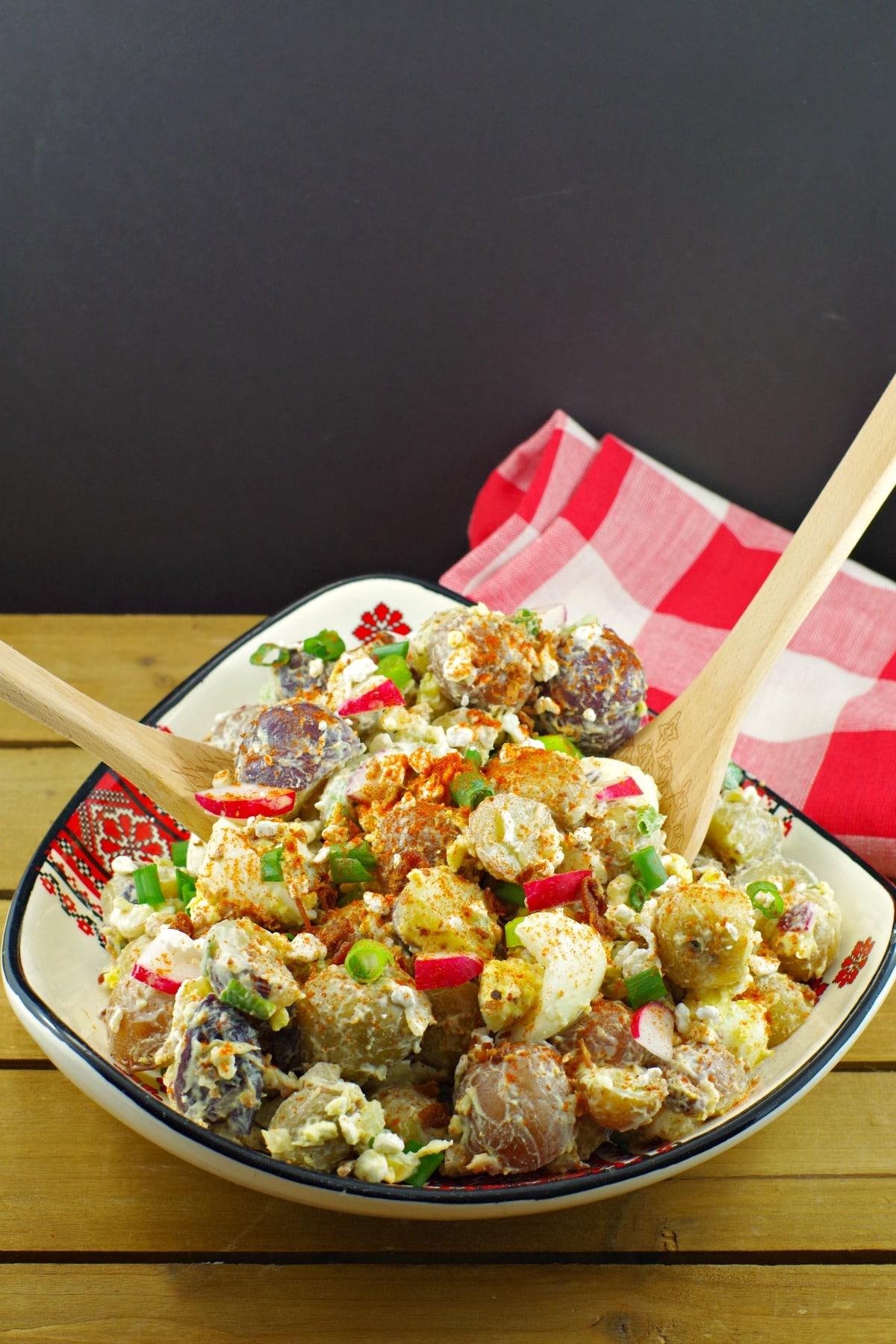 Perogy Potato Salad recipe- Foodmeanderings.com