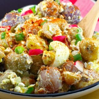 Pierogi Potato Salad | summer BBQ salad - Foodmeanderings.com