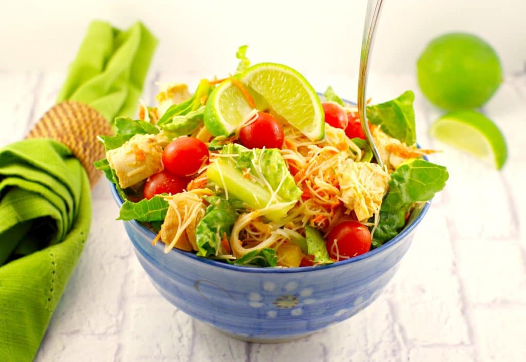 Thai Chicken Salad Recipe | peanut lime dressing - foodmeanderings.com