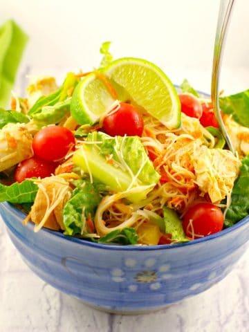 Thai Chicken Salad Recipe | peanut lime dressing - foodmeanderings.com