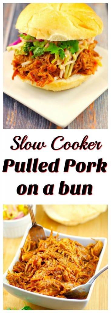 Slow Cooker Pulled Pork on a bun |#crockpotpulledporksandwich - Foodmeanderings.com