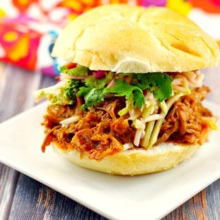 Slow Cooker Pulled Pork on a bun | #crockpotpulledpork- Foodmeanderings.com