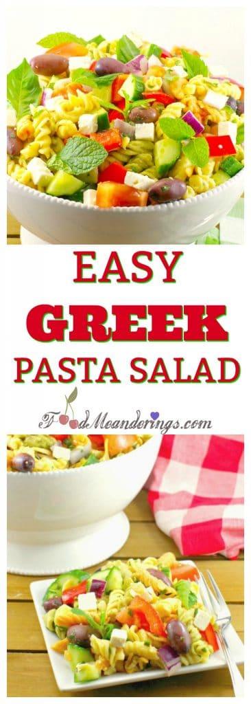 Easy Greek Pasta Salad | healthy - foodmeanderings.com