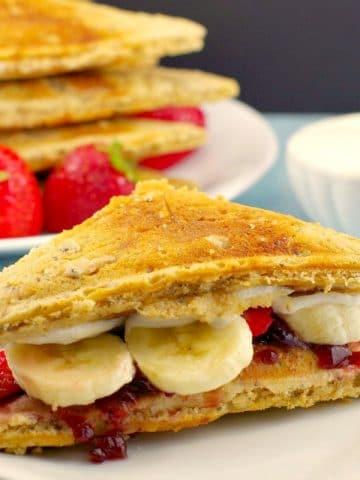 Pancake Breakfast Sandwich | PB&J- foodmeanderings.com