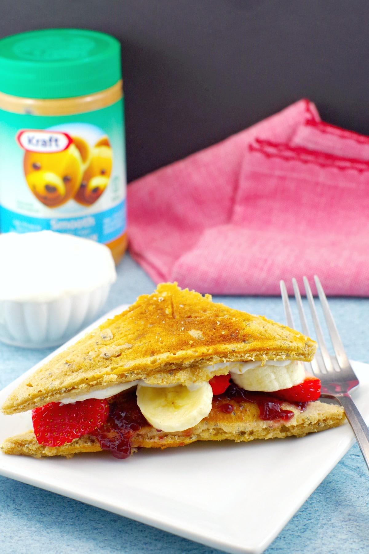 Pancake Breakfast Sandwich | Peanut butter & Jam - foodmeanderings.com