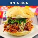 slow cooker pulled pork on a bun on a white plate