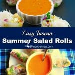 2 photo collage of salad rolls with halved salad rolls in picture on top andwhole salad rolls laying on circular plate in bottom photo