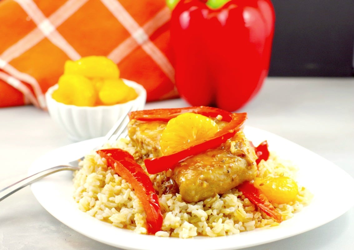 Easy Pork Dinner - Mandarin Orange & Red Pepper Pork recipe - foodmeanderings.com