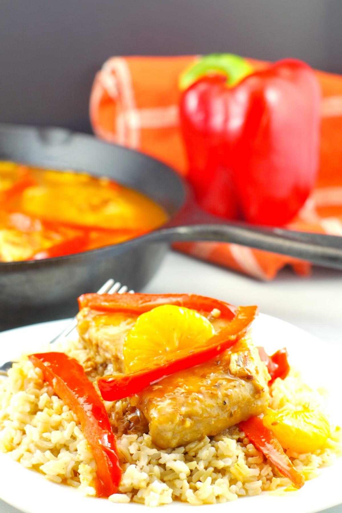 Mandarin Orange & Red Pepper Pork - Easy Pork Dinner - foodmeanderings.com