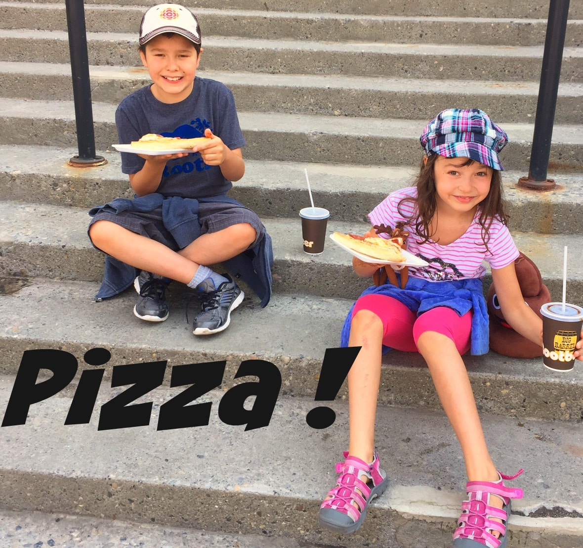Kids eating pizza at Stampede