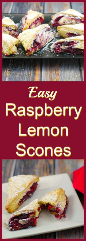 Easy Raspberry Lemon Scones | #brunchpotluckideas #scones - Foodmeanderings.com