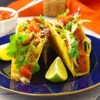Fish tacos with slaw - no fishy taste - foodmeanderings.com