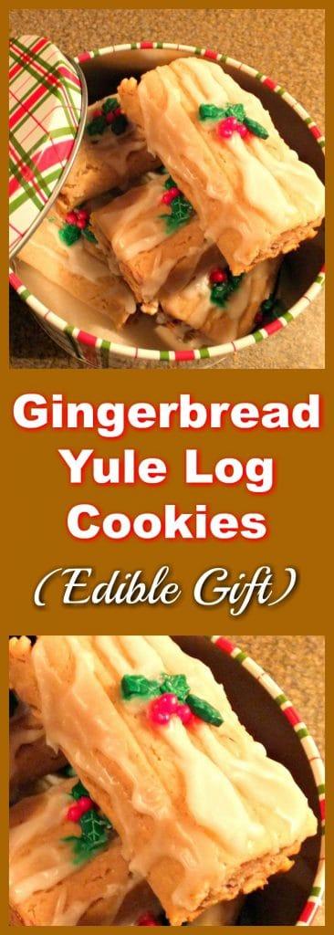 Gingerbread Yule Log Cookies | edible gift - Foodmeanderings.com