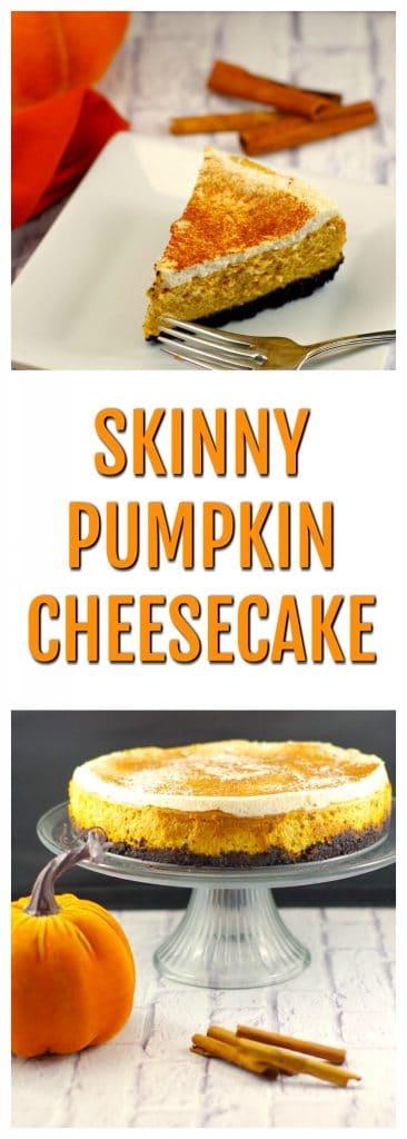 Skinny Pumpkin Cheesecake | #thanksgivingdessert, #pumpkincheesecake - Foodmeanderings.com