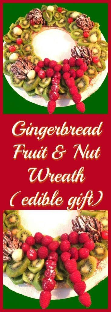 Gingerbread Fruit & Nut Wreath | #ediblegift #gingerbread - Foodmeanderings.com