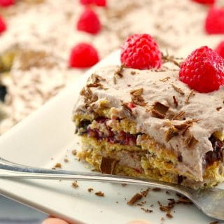 Chocolate Raspberry Lentil Dessert Lasagna | best red lentil recipe - foodmeanderings.com