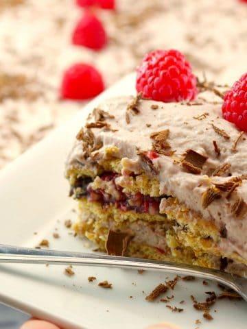 Chocolate Raspberry Lentil Dessert Lasagna | best red lentil recipe - foodmeanderings.com