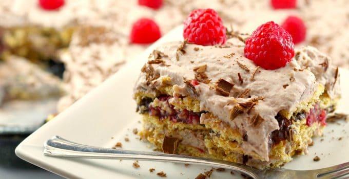 No Bake Healthy Chocolate Raspberry Lentil Dessert Lasagna