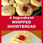 4 Ingredient Whipped Shortbread collage - pile of cookies on top and stacked cookeis on plate bottom photo
