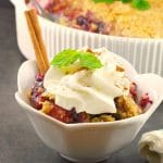 Quick & Easy Mixed Berry Crumble | with lemon, mint and coconut - foodmeanderings.com