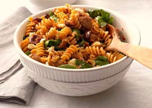 Greek Pasta Dish in bowl with spoon