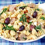 Greek pasta with spinach and feta