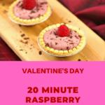 Raspberry Tiramisu Tarts on a wooden serving board