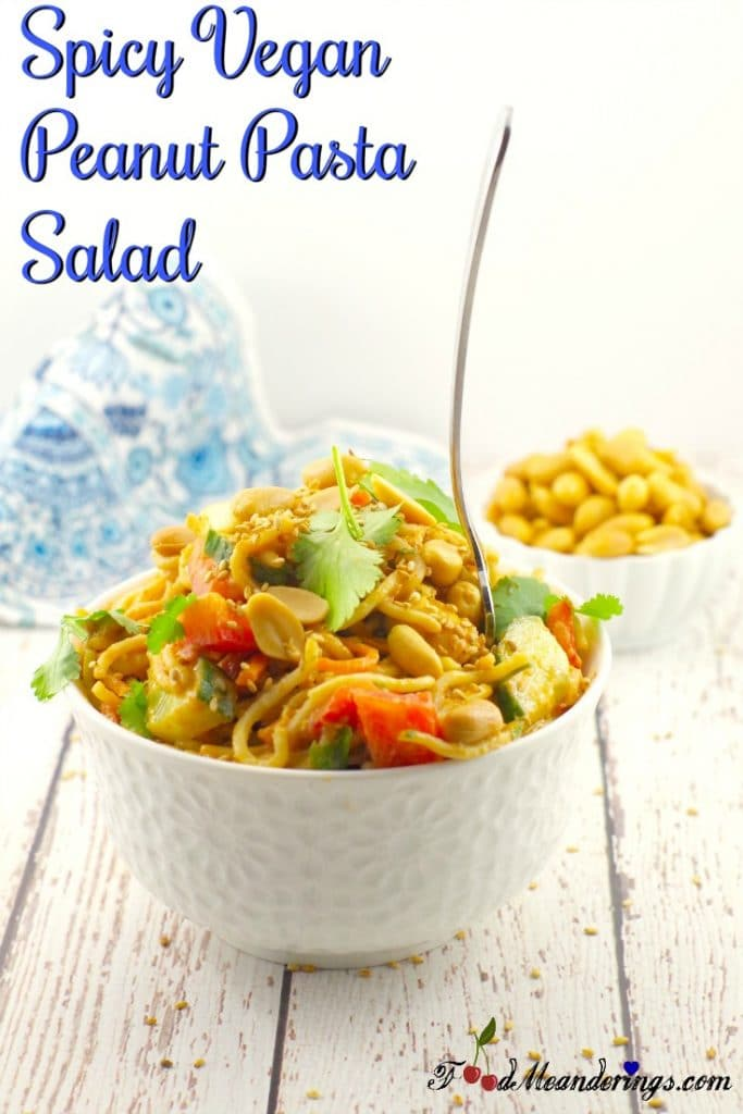 Spicy Vegan Peanut Pasta Salad | with leftover spaghetti - Foodmeanderings.com