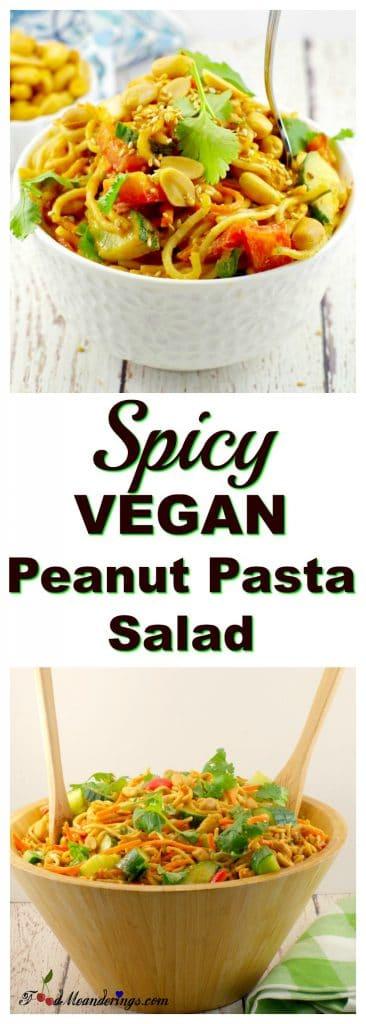 Spicy Vegan Peanut Pasta Salad | leftover spaghetti noodles - Foodmeanderings.com