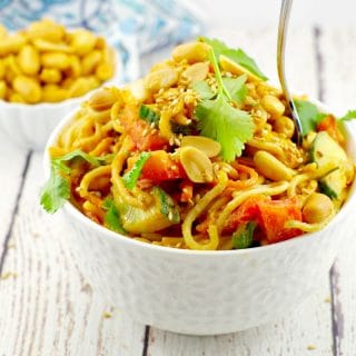 Easy Spicy Peanut Pasta Salad (Vegan): Leftovers are the best!