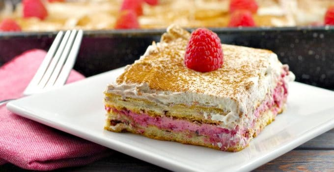 Raspberry Mocha Cinnamon Roll Lasagna – an easy breakfast or brunch casserole