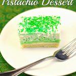 Green Easy Pistachio Dessert Recipe on plate