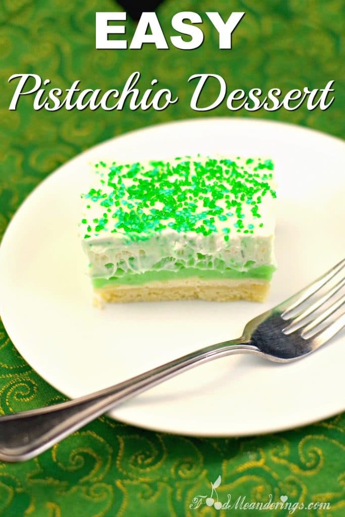 Easy Pistachio Dessert Recipe   green dessert - foodmeanderings.com