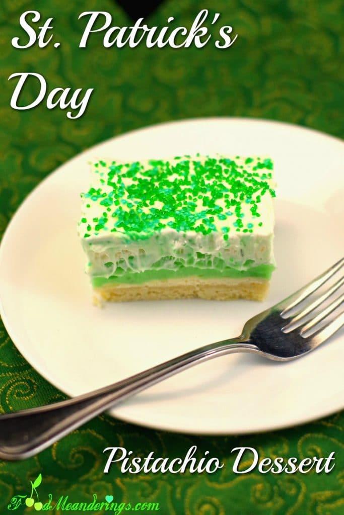 St. Patrick's Day Pistachio Dessert   green dessert - Foodmeanderings.com