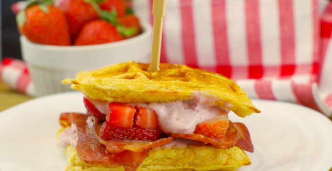 Award Winning Strawberry Sunrise Waffle and Chicken Sandwich: An easy and healthier version