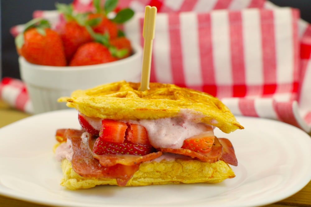 Strawberry Sunrise Waffle And Chicken Sandwich