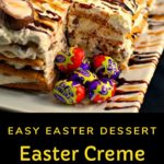 Mini Easter Creme eggs in front of cut out section of cake