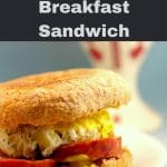 Pinterest pin with light grey text on the top and bottom and a photo of a Ukrainian Breakfast sandwich in the middle, with a Ukrainian print vase in the background