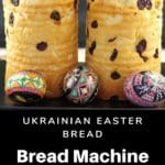 2 loaves of babka on a tray with Ukrainian Easter Eggs in front of them