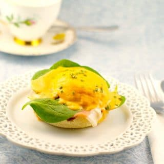Easy Eggs Benedict with Red Pepper & Artichoke Hollandaise - foodmeanderings.com