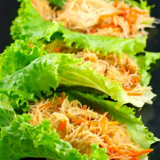 Easy Sriracha Chicken Noodle Lettuce Wraps