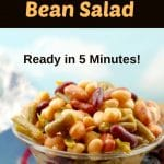 Vegan Bean salad in a small glass bowl