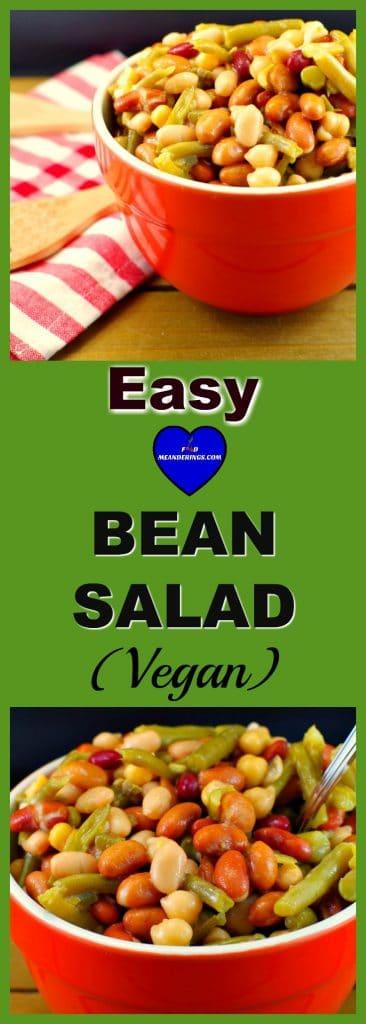 Easy Bean Salad (Vegan) - in 5 minutes #bean salad # vegan   foodmeanderings.com