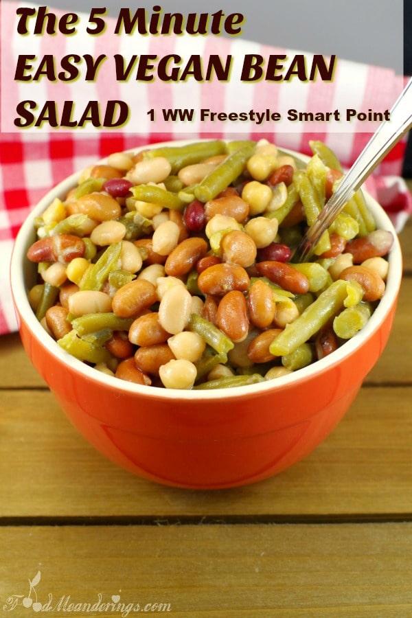 Easy Vegan Mixed bean salad |weight watchers friendly - foodmeanderings.com